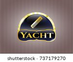 gold emblem or badge with hair ... | Shutterstock .eps vector #737179270