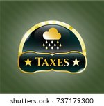 shiny badge with rain icon and ... | Shutterstock .eps vector #737179300