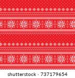 christmas knitted pattern | Shutterstock .eps vector #737179654