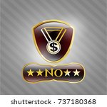 gold badge or emblem with... | Shutterstock .eps vector #737180368