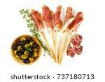 antipasti isolated on white... | Shutterstock . vector #737180713