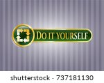 gold emblem with recycle icon... | Shutterstock .eps vector #737181130