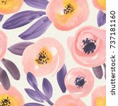 seamless floral patter on paper ... | Shutterstock . vector #737181160