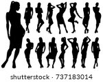 set of black vector silhouettes ... | Shutterstock .eps vector #737183014