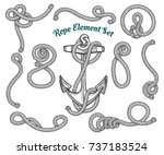 set of hand drawn ropes corners ... | Shutterstock . vector #737183524