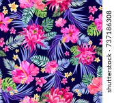 seamless vector tropical... | Shutterstock .eps vector #737186308