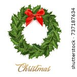 christmas wreath with red bow... | Shutterstock .eps vector #737187634