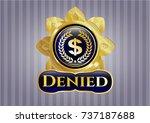 gold badge with laurel wreath... | Shutterstock .eps vector #737187688