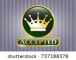 golden badge with queen crown... | Shutterstock .eps vector #737188378