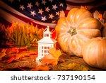 pumpkins against the background ... | Shutterstock . vector #737190154