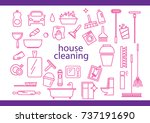 cleaning tools set. hand drawn... | Shutterstock .eps vector #737191690