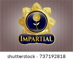 gold badge with flower icon... | Shutterstock .eps vector #737192818