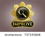 gold badge or emblem with... | Shutterstock .eps vector #737192848