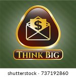 shiny badge with envelope with ... | Shutterstock .eps vector #737192860