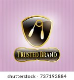 gold badge or emblem with hand ... | Shutterstock .eps vector #737192884