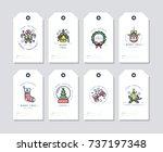 vector linear design christmas...   Shutterstock .eps vector #737197348