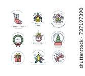 vector linear design christmas... | Shutterstock .eps vector #737197390