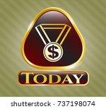 golden emblem or badge with... | Shutterstock .eps vector #737198074