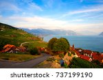 vineyards of the lavaux region... | Shutterstock . vector #737199190
