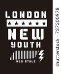london new youth t shirt print... | Shutterstock .eps vector #737200978