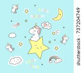 cute magic with unicorn on blue ... | Shutterstock .eps vector #737204749