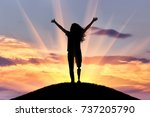 happy woman with a disability... | Shutterstock . vector #737205790