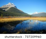 mountains and golden valley in... | Shutterstock . vector #737209960