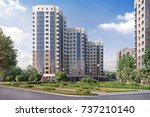modern residential complex for... | Shutterstock . vector #737210140