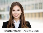 smiling businesswoman portrait | Shutterstock . vector #737212258