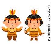 cartoon couple native indian... | Shutterstock .eps vector #737216344