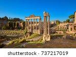 panoramic image of roman forum  ... | Shutterstock . vector #737217019