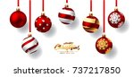 christmas balls with red ribbon | Shutterstock .eps vector #737217850