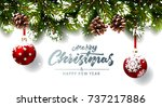 christmas background with fir... | Shutterstock .eps vector #737217886