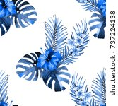 seamless tropical floral blue... | Shutterstock . vector #737224138