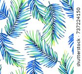 seamless palm leaves floral... | Shutterstock . vector #737224150