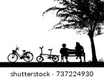 silhouette vintage bike and... | Shutterstock . vector #737224930