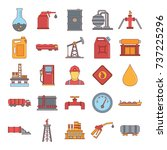 oil gas industry cartoon icons... | Shutterstock .eps vector #737225296