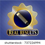 gold badge with pencil icon... | Shutterstock .eps vector #737226994