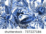 blue tropical seamless floral... | Shutterstock . vector #737227186