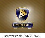 golden badge with pizza slice... | Shutterstock .eps vector #737227690