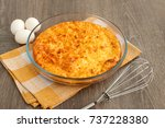 omelette and eggs. a large...   Shutterstock . vector #737228380