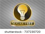 golden badge with light bulb... | Shutterstock .eps vector #737230720
