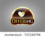 shiny badge with love icon and ... | Shutterstock .eps vector #737230798