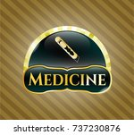 gold emblem with cutter icon... | Shutterstock .eps vector #737230876