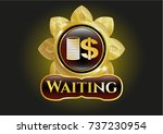 gold badge with stack of coins ... | Shutterstock .eps vector #737230954