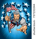 uncle sam leaping forward with... | Shutterstock .eps vector #737231044