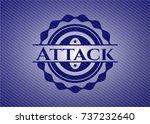 attack badge with denim... | Shutterstock .eps vector #737232640