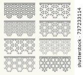 set of black seamless borders ... | Shutterstock .eps vector #737233114