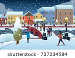 a vector illustration of people ... | Shutterstock .eps vector #737234584