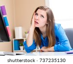 young woman feeling stressed at ... | Shutterstock . vector #737235130
